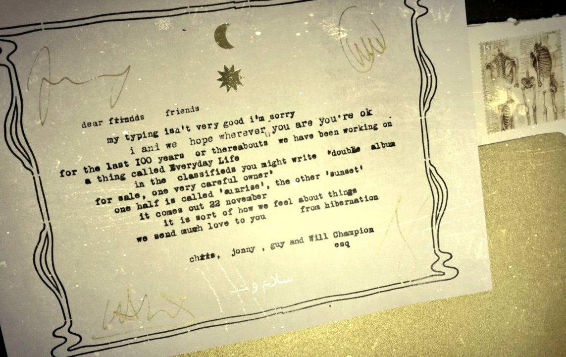 Carta enviada a los fans para comunicarles la salida del nuevo trabajo discográfico