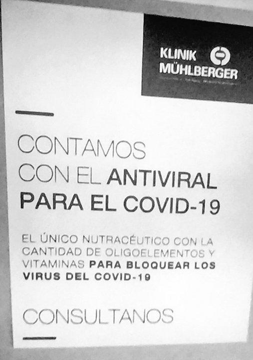 Mühlberger ofrecía a sus clientes la cura contra el Coronavirus
