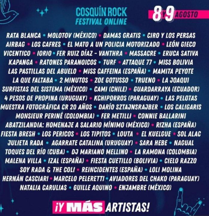 Line-Up del Cosquín Rock Online