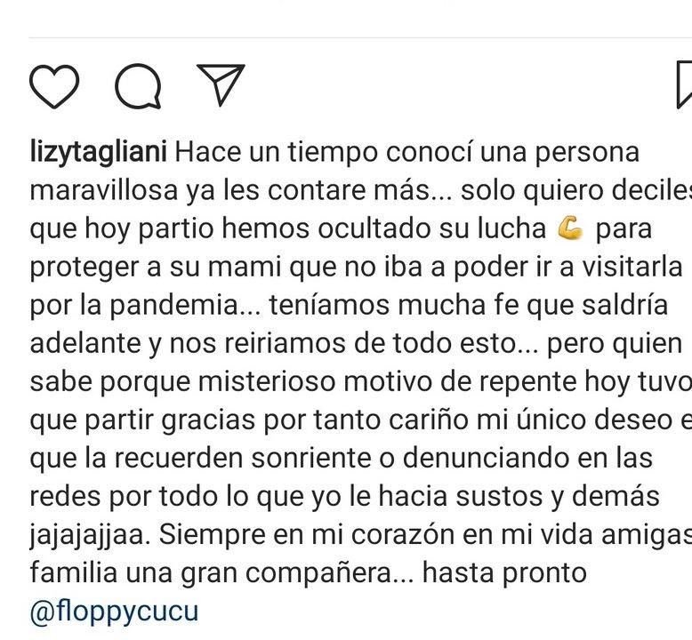 Mensaje de Lizy en Instagram