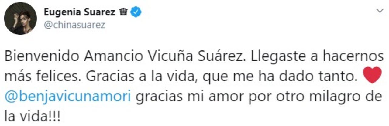 El anuncio de la China Suárez en su cuenta de Twitter.